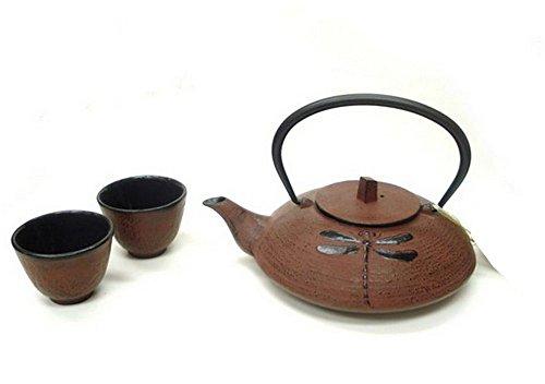 JapanBargain Cast Iron Tea Set, 21 oz., Dragonfly Burgundy