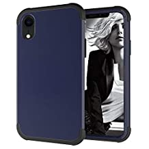 """Dual Layer Shockproof Hard PC Case for iPhone XR 6.1"""", Hybrid Front Raised and Back Impact Resistant Cover, MOIKY iPhone XR 6.1"""" Rugged Drop Proof Protective Tough Shell with Impact Protection - Black+Navy Blue"""