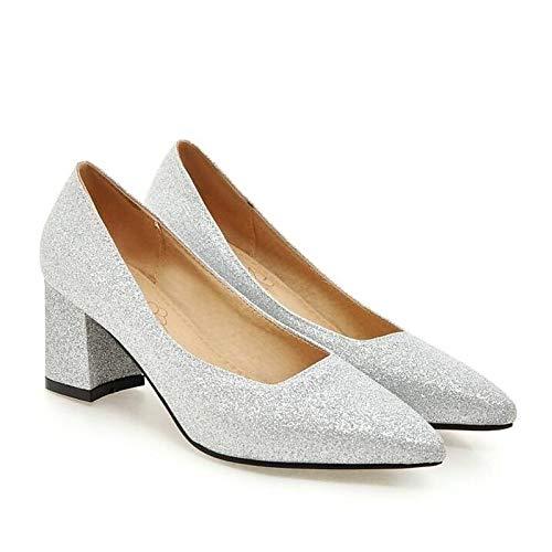 QOIQNLSN Primavera Zapatos Tacones De Plata Silver Talón Oro Synthetics Negro Comodidad Mujer Chunky rr4xqw