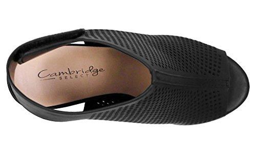 Cambridge Utvalda Womens Laserskurna Slingback Staplade Häl Pump Bootie Svart