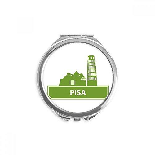 (Pisa Italy Green Landmark Pattern Mirror Round Portable Hand Pocket Makeup)