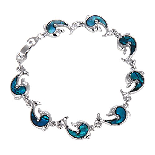 Blue Abalone Paua Dolphin Bracelet for Christmas Gift Jewelry (Dolphin (Dolphin Paua Shell)