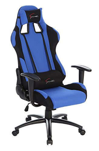 SEATZONE Brand New High-back Ergonomic Gaming Chair with Soft Headrest and Lumbar Support, Classic 360 Degrees Swivel Racing Chair for Office, Video Game Room, Breathable Fabric, Blue