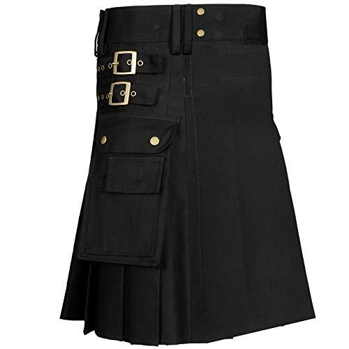 (MajesticUSA Men's black utility kilt Scottish Traditional Wedding Kilt Stylish Sport Dress Fashion Snap-on highlander skirt Cargo Pocket With Free Leather Sporran Chain with Strap (W 30, Black))