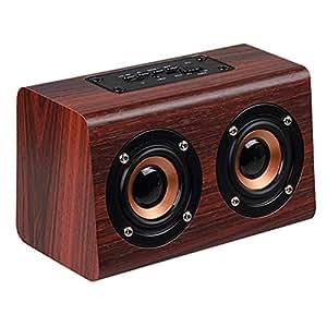 Amazon.com: PQFYDS W7 Bamboo Retro Bluetooth Speakers