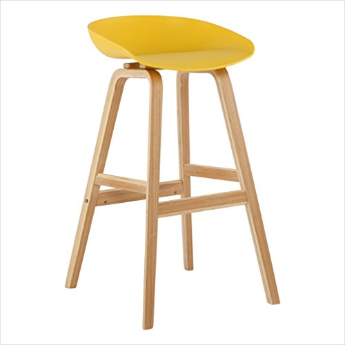 COZY HONE AAA Solid Wood bar Chair Home Leisure Stool Restaurant bar Stool bar Chair Coffee bar Stool high Stool (Color : Yellow)