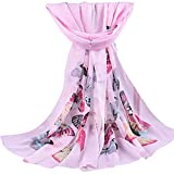 Clearance! Women Lady Butterfly Print Soft Long Scarves Casual Shawl Wraps For Winter And Autumn(Pink,E)