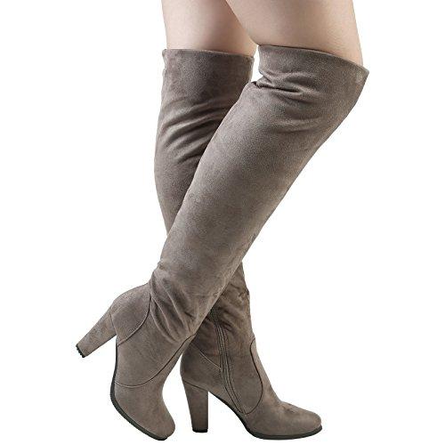 Block Khaki High First Womens Elasticizzati Heel Over Faux Liza The Stivali Suede Fashion Piedi Knee Tan 7Xg1Ug