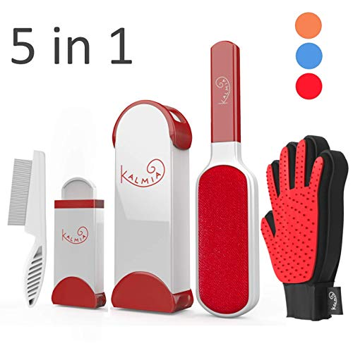 Pet Hair Remover With Self Cleaning Base Grooming Comb and Glove 5-in-1 Combo - Removes Dog, Cat Fur and Lint from Clothing, Furniture Upholstery Red Reusable Brush Rollers System for Neat Pet Homes