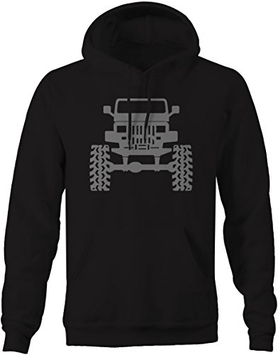 (Jeep Lifted Wrangler YJ Square Lights Offroad Mens Sweatshirt - Large)
