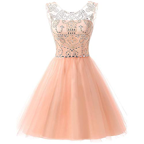 Sarahbridal Juniors Short Tulle Prom Dress Sweet 16 Beading Sequin Homecoming Gowns Blush US12