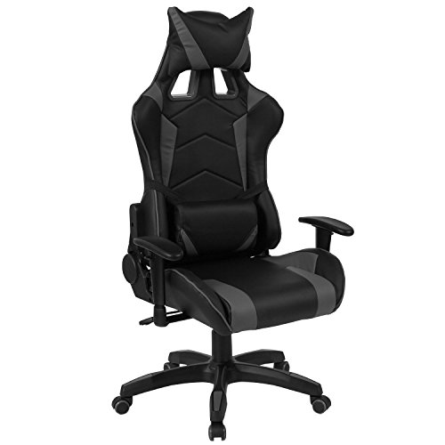 (Flash Furniture Cumberland Comfort Series High Back Black and Gray Executive Reclining Racing Swivel Chair with Adjustable Lumbar)