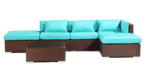 Kardiel  Espresso Wicker Outdoor Furniture Patio Sofa Sec...