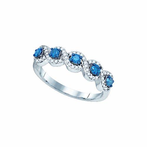 Dazzlingrock Collection 1/2 Carat (ctw) 10K Blue & White Round Diamond Ladies Swirl Cocktail Right Hand Ring 1/2 CT, White Gold ()