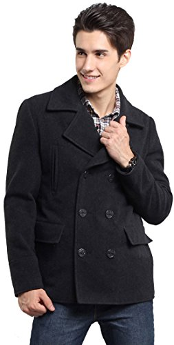 fashciaga Men's Hooded Double Breasted Wool Blend Pea Coats Grey (Double Breasted Hooded Wool)