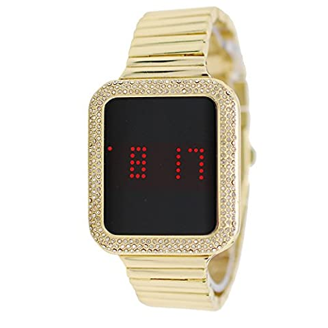 Techno Pave Yellow Gold Plated Iced out Square Digital Touch Screen Metal Band Watch (Iced Out Square Watch)