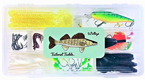 Tailored Tackle Walleye Fishing Kit 112 Pc Tackle Box with Tackle Included | Crankbait Swimbait Grub Walleye Fishing Lures | Jigs Hooks & Crawler Worm Harnesses for Walleye Spinner Rig Gear