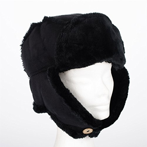 Ladies Womens Faux Sheepskin / Suede & Fur Trapper Aviator Russian Hat, Black