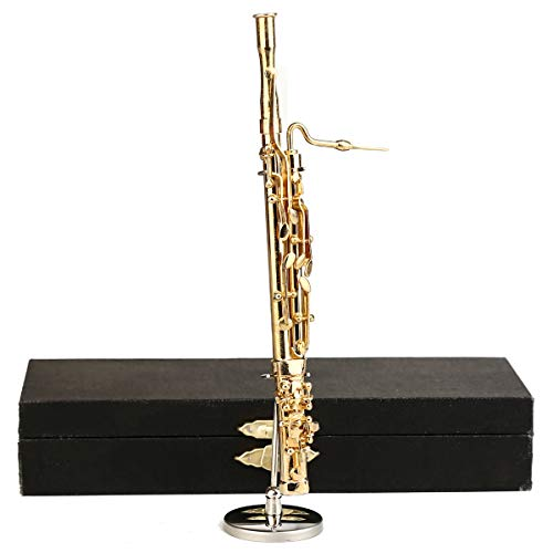 (Seawoo Copper Miniature Bassoon with Stand and Case Mini Musical Instrument Miniature Dollhouse Model Mini Bassoon Home Decoration)