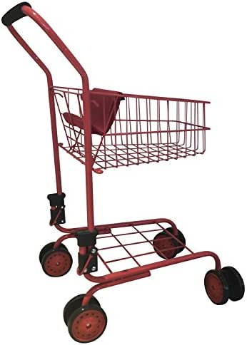 Toy Shopping Cart for Kids and Toddler - Includes Food - Folds for Easy Storage Metal Frame