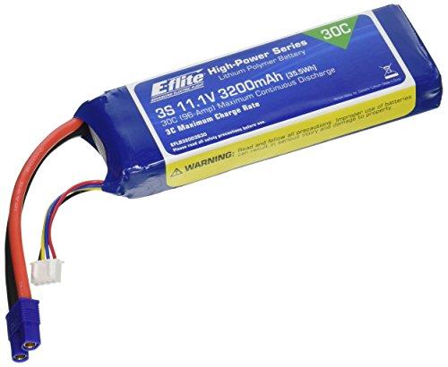 E-flite 3200mAh 3S 11.1V 30C LiPo, 12AWG: EC3, EFLB32003S30