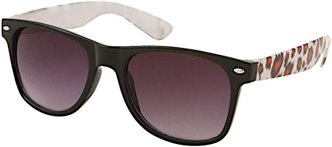 Sonnenbrille Animal Print Unisex Nerd Brille lila getönt 400 UV Wayfarer Farben