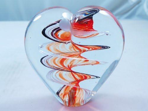 M Design Art Handcraft Glass Black and Ruby Swirls Spiral XL Heart Glass Paperweight