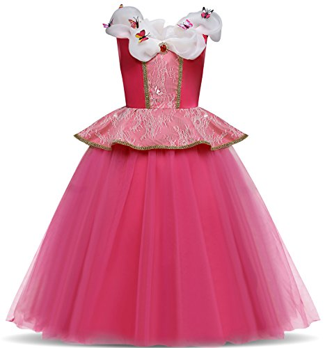 TTYAOVO Aurora Princess Cosplay Dress up Costume Girls Ball Gowns for Halloween Size 4-5 Years Rose