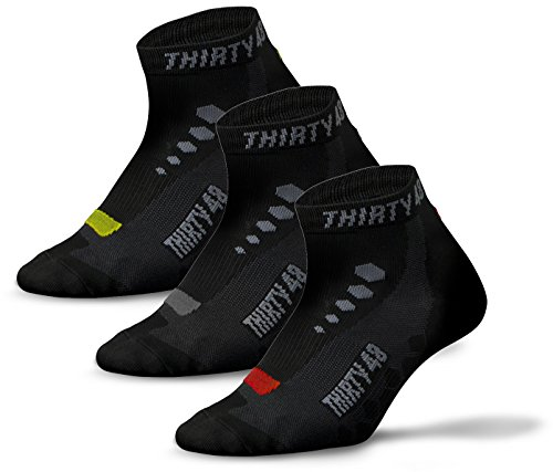 Thirty48 Low Cut Cycling Socks for Men and Women | Black Mixed 3-Pack - - Cycling Socks