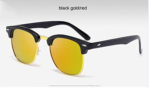 Gafas Oro ZHANGYUSEN Negro Oro de alta Oro sol hombre Moda de espejo de 3016 3016 Remache de sol clásico de metal de gafas rojo negro medio calidad R0w10xH7rq