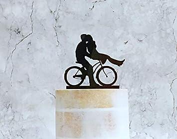 Decoración para tarta para parejas de ciclismo, novia y novio en bicicleta, decoración de boda, decoración de tartas, decoración para tarta de boda, ciclismo: Amazon.es: Hogar