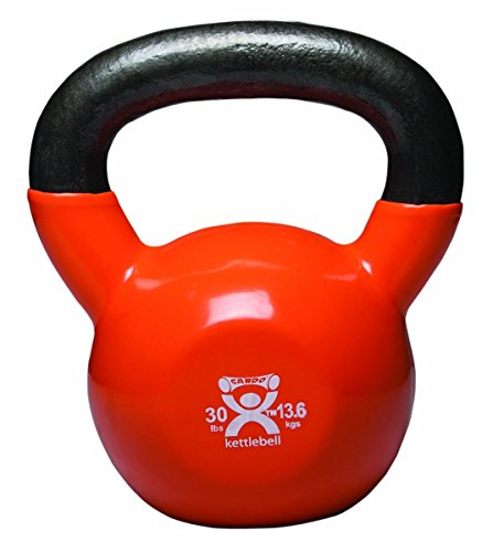 CanDo Vinyl-Coated Kettlebell, Gold, 30 Pound