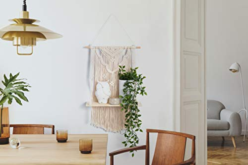 Macrame Wall Hanging Shelf | Boho Style with Floating Wood Shelf | Handmade Macrame Shelf for Hanging Plants and Decor | Boho Wall Decor with Beautiful Macrame Rope and Shelf