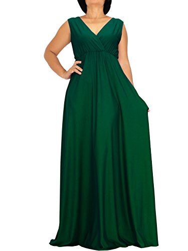 The WomenLand Handmade Women Maxi V Neck Flare Wide A Line Empire Waist Sleeveless Party Dress Formal Informal (L, Forest Green)