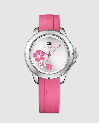 (Tommy Hilfiger Communion Silver Dial Silicone Strap Ladies Watch 1781804)