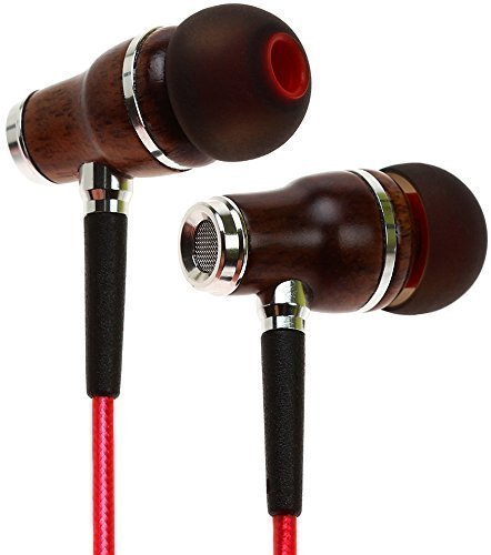 Symphonized NRG 2.0 Earbuds with Microphone, Noise Isolating Headphones Earbuds Heavy Deep Bass Earphones Ear Buds, in Ear Headphones for iPhone Android Phone iPad Tablet Laptop and More (Lava Red)