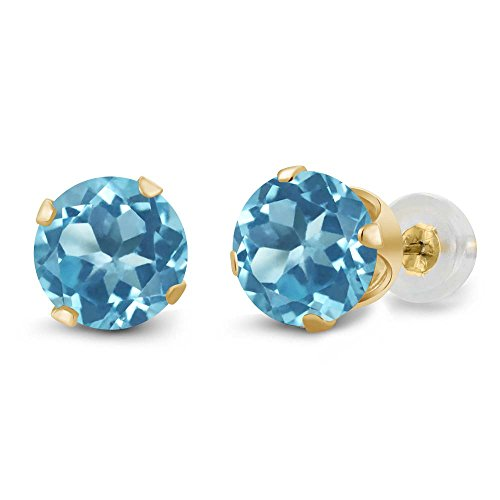 Round Blue Topaz Prong - 14K Yellow Gold Round Swiss Blue Topaz 4-prong Women's Stud Earrings (2.00 cttw, 6mm)