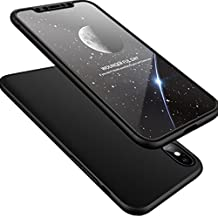 iPhone X Case,WATACHE Ultra Slim Lightweight 3 in 1 Hard PC Matte Surface Non Slip Shockproof Anti-Scratches Full Body Protective Cover with Tempered Glass Screen Protector for Apple iPhone X (Black)