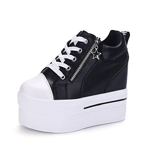 CYBLING Womens High Top Wedge Shoes Fashion Zipper Platform Hidden Heel Travel Sneakers Black PiRqyuFG