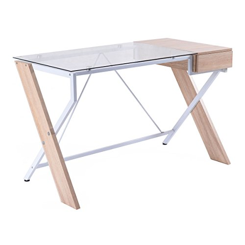 Tempered Glass and Wooden Computer Desk Solid and Durable Construction Elegant Design Laptop Table Bedroom Living Room Furniture Home Modern Decor with Storage (Decoracion De Salas Con Muebles De Madera)