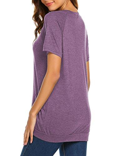 Halife Loose Tunic Shirt Short Sleeve, Womens Casual Pockets T Shirt Tops Purple XL by Halife (Image #1)