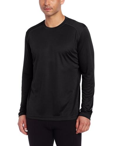 Terramar Men's Helix Mountain Long Sleeve Crew Shirt (X-Large, Black)