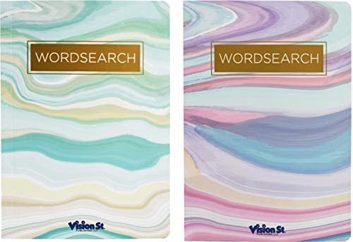 Set of 2 Word Search Puzzle Books - Abstract Paperback Book - Over 220 Puzzles Per Book (Word Search Set)