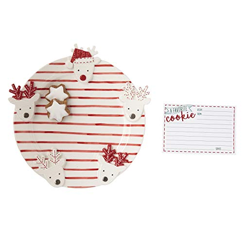 Mud Pie 4115026 Reindeer Recipe Card Cookie Plate Set, One Size, White/Red