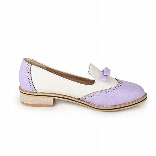 Show Shine Damesmode Sweet Assorti Kleuren Strikjes Loafer Flats Schoenen Licht Paars