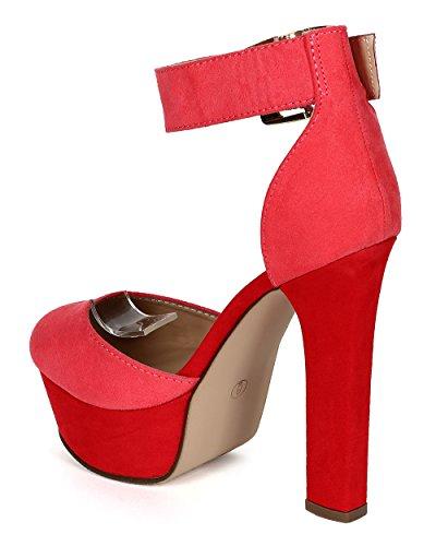 Breckelles Cd94 Sandalo Da Donna In Pelle Scamosciata A Punta Smussata Color Block Con Tacco Grosso - Pompelmo