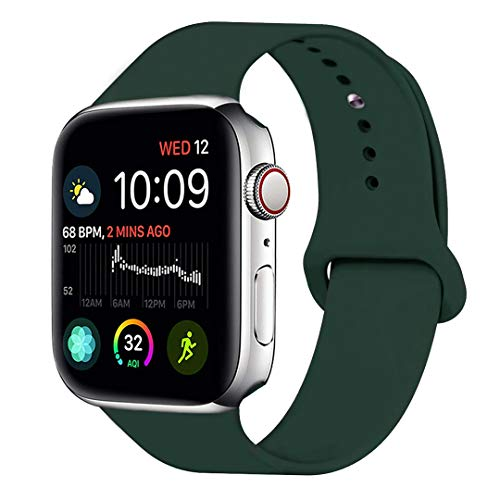 MOOLLY for Watch Band 42mm 44mm, Soft Silicone Watch Strap Replacement Sport Band Compatible with Watch Band Series 4 Series 3 Series 2 Series 1 Sport & Edition (42mm 44mm M/L, Olive Green) ()
