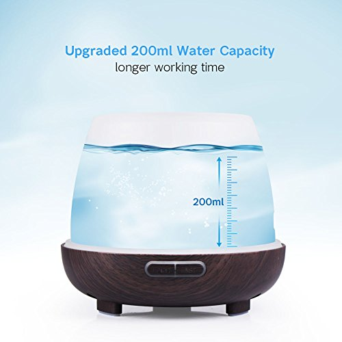InnoGear 200ml Essential Oil Diffuser Wood Grain Vase-Shaped Ultrasonic Aromatherapy Oil Diffusers with Adjustable Mist Mode Waterless Auto Shut-off Humidifier and 7 Color Changing LED Lights for Home