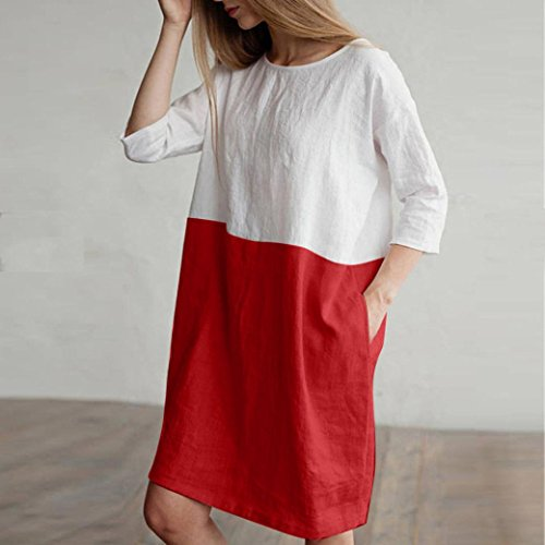 Patchwork 1 Dress Loose 2 Clearance Linen Sale Red Pockets Cotton Tunic Women Wintialy Sleeved Casual qwOwIFXx