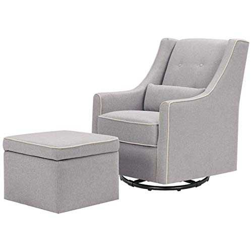 DaVinci Owen Upholstered Swivel Glider with Side Pocket and Storage Ottoman, Grey with Cream - Nursery Upholstered Ottoman